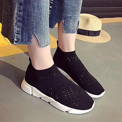 CYBLING Womens Lightweight Breathable Casual Sports Shoes Fashion Slip On Walking Sneakers Black pEjn0qjsF