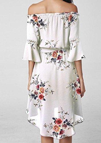 Les Femmes Coolred Flare Épaule Manches Bretelles De Robe De Cocktail Floral Blanc