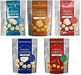Moon Cheese 5 Flavors Assortment Pack - 1 each Cheddar, Gouda, Pepperjack, Mozzarella & Monterey Jack Sriracha (2 oz bags).