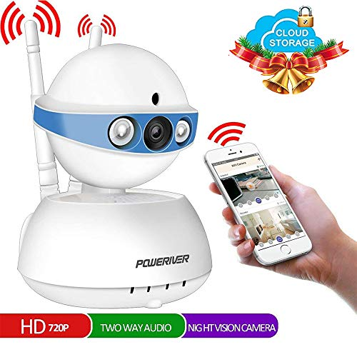 Security Camera,POWERIVER WiFi IP Indoor Security System with Motion Detection,Two-Way Audio & Night Vision for Baby/Pet/Front Porch Monitor,Remote Control with iOS,Android,PC APP(Blue)
