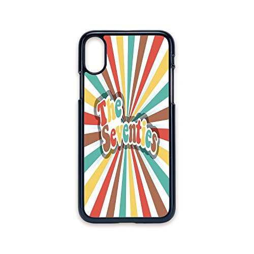 Phone Case Compatible with iPhone X 2D Print Black Edge,70s Party Decorations,The Seventies Retro Pastel Colored Typography Old Radial Backdrop,Multicolor,Hard Plastic Phone Case]()