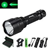 #5: VASTFIRE 150 Yard Green Light Flashlight Single 1 Mode Tactical Torch is Long Lasting Time 6 Hours for Hog Coyote Varmint Predator Hunting with Picatinny Mount to Rifle Barrel Scope Rail AR 15 Bow