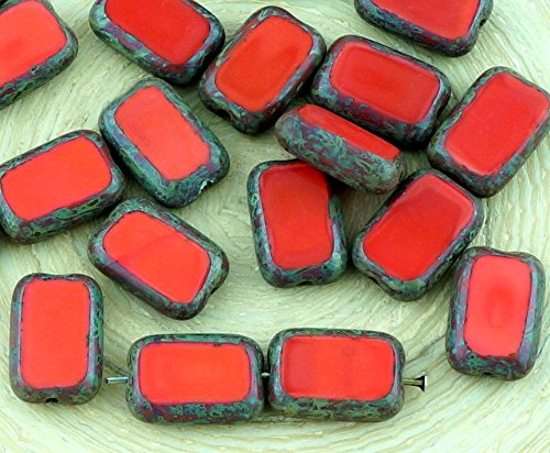 8pcs Picasso Brown Opaque Coral Red Table Cut Flat Rectangle Czech Glass Beads 8mm x 12mm