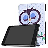 ASUS ZenPad Z8s Case, Ratesell Tri-Fold Ultra Slim Stand Smart Case Cover with Auto Wake/Sleep Feature for Verizon ASUS ZenPad Z8s ZT582KL 7.9 inch Tablet 2017 Release Love Owl