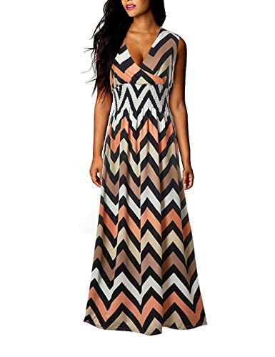fc8e90d7a00121 Yidarton Sommerkleid Damen mit V-Ausschnitt Lang High Waist Elastische  Striped Sleeveless Beach Kleid Partykleid