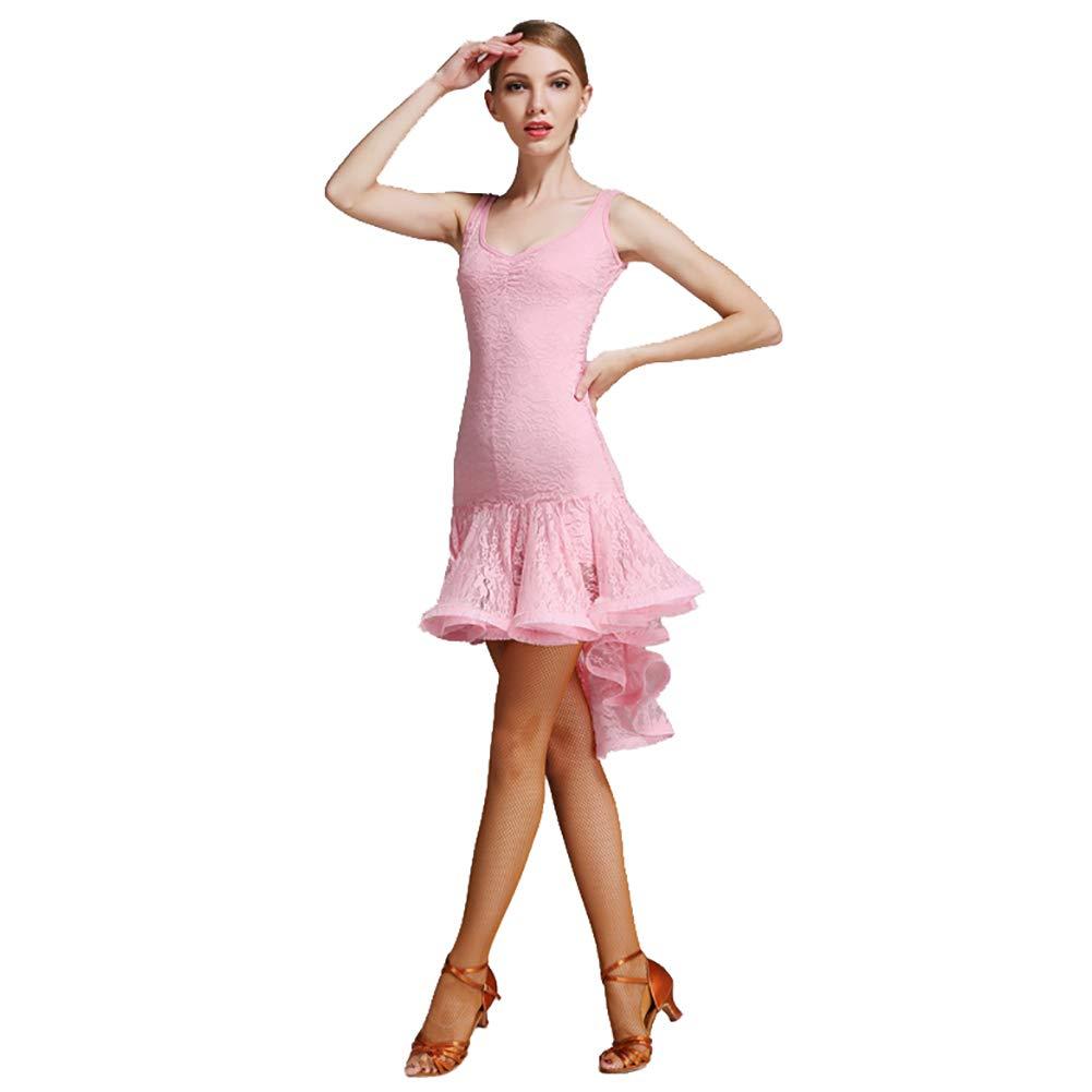 Rose XHTW&B Adulte Femmes Latin Danse Jupe Les Robes Flexible étape Examen De Danse Les Costumes élégant Fête Concurrence Robe XXL