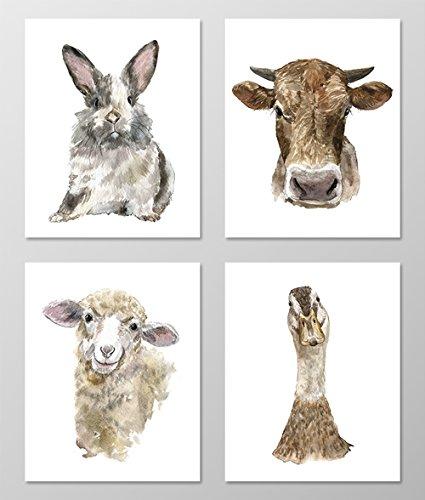 Nursery art #A071 - Set of 4 Farm Animal art prints (8x10). Nursery wall art.Farm theme nursery.Watercolor farm animal pictures.Baby room wall art.Rabbit,Cow,Sheep print.Farm nursery art.