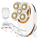 Electric Shaver for Women Leg Hair Remover Painless Lady Razor Waterproof Bikini Trimmer Rechargeable 3-IN-1 Lady Foil Shaver for Arm Underarms Bikini Line