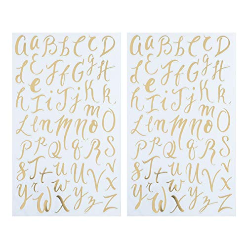 Darice 30052960 Small Handwritten Font Letter Stickers: Gold Foil, 104 pc