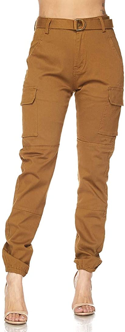 Belted Cargo Jogger Pants in Khaki