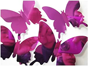 Wall Decor 3D Butterfly Bedroom Wall Decor Home Decor Living Room Decor Girls Room Decorations for Bedroom Butterfly Stickers Home Decoration by BONSP (Purple)