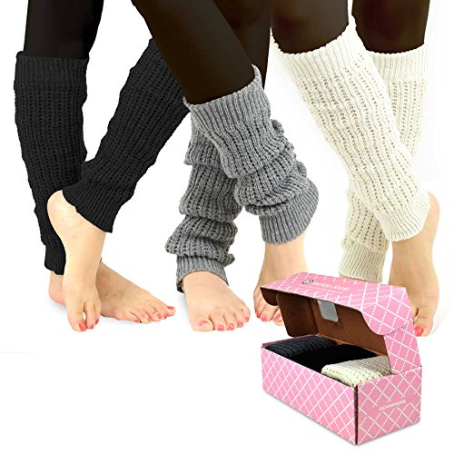 TeeHee Gift Women#039s Fashion Leg Warmers 3Pack Assorted Colors Cable Knit