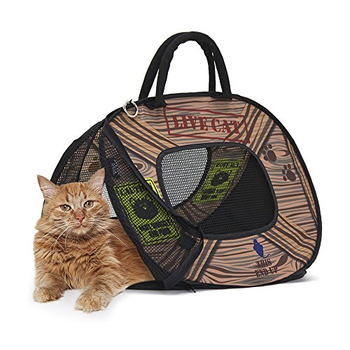 (SportPet Designs Cat Carrier with Zipper Lock- Foldable Travel Cat Carrier - Pet Pen)