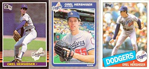 Orel Hershiser Baseball Rookie Card Lot of 3 - 1985 Donruss, 1985 Fleer, and 1985 Topps Donruss Fleer Topps