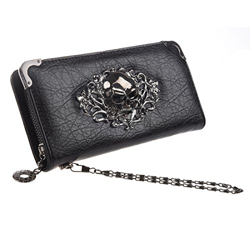 HOYOFO Skull Wallets for Women Long Purse Phone Card Holder Cool Fashion Clutch Wallet, Black]()