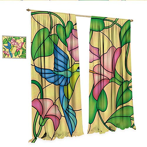 rtains by Stained Glass Style Bird and Hibiscus Tropical Flora and Fauna Illustration Patterned Drape for Glass Door W108 x L96 Multicolor.jpg ()