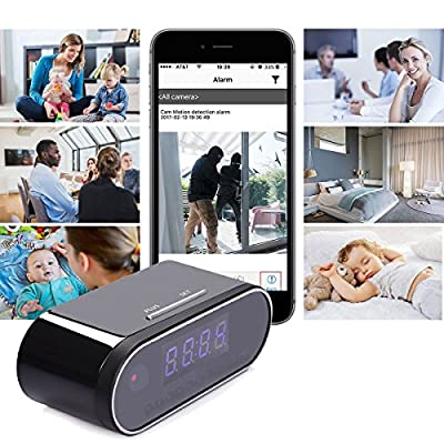 HD 1080P Spy Hidden Camera Clock, Wireless Spy Camera Clock Motion Security Alarm Clock by PlatiniumTech