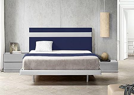 100X57 Cms SUENOSZZZ Color Azul//Blanco Camas 90 Cabecero Ibiza
