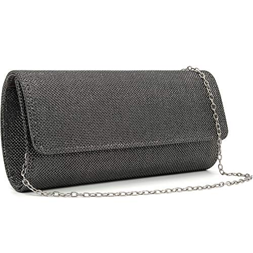 Milisente Evening Bag for Women Glitter Crossbody Shoulder Handbag Sparkly Clutch Bag Wedding Evening Purse (Grey)