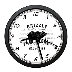 BCWAYGOD Strong Grizzly Bear in The Forest Vintage Grunge Look Life in The Mountains Theme Black White Round 10 Silent Quartz Decorative Wall Clock Non-Ticking Classic Digital Clock (Black)