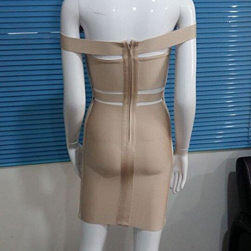 HLBandage Women Off Shoulder Slash Neck Cut Out Rayon Bandage Dress Beige