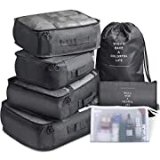 Packing Cubes VAGREEZ 7 Pcs Travel Luggage Packing Organizers Set with Toiletry Bag (Black)