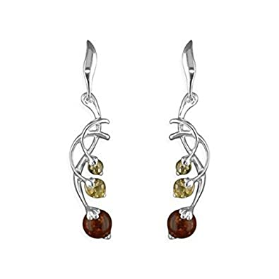 Amber Sterling Silver Earrings - Celtic Green Amber Fancy Dangly Drop - For Amber Jewellery Lovers hOg5mgD