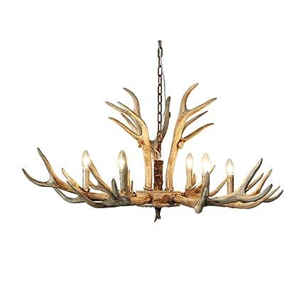 BJ Lámpara de Techo- Retro Deer Horn Chandelier Lámpara Sala ...