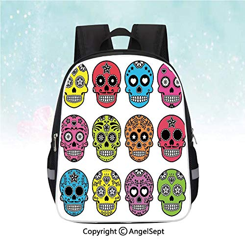 "School Student Backpack,Ornate Colorful Traditional Mexian Halloween Skull Icons Dead Humor Folk Art Print,13"",Waterproof Schoolbag,Lightweight,Multi"