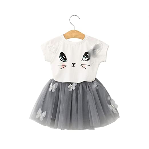 967a25a189cb Amazon.com  Minisoya Kids Toddler Baby Girls Party Outfits Kitty ...