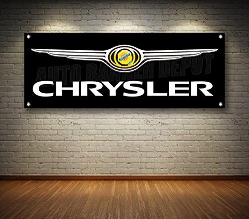 Chrysler AUTO Dealer 1-Sided Banner Sign 14oz Vinyl - Multiple Sizes & Styles (Black, 24