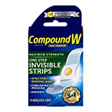 Compound W One Step-Maximum Strength, Medicated, Waterproof- Invisible Strips -Effectively  Removes Warts, 14 Count