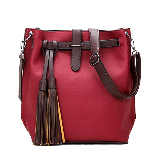 Women's Handbag Tote Purse Shoulder Bag Pu Leather Fashion Top Handle Designer Bags for Ladies (Red)
