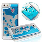 UZZO Liquid Floating Dolphin Print Case for Apple iPhone 5, 5S With Keyring - Blue