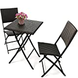 COBANA CBN-15004 3-piece Outdoor Patio Resin Wicker Rattan Folding Bistro Set