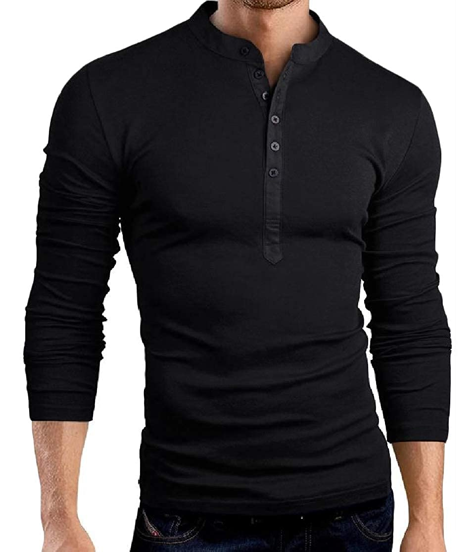Colourful Mens Stitch Button Long Sleeve Slim Stand Collar Fashion Tees