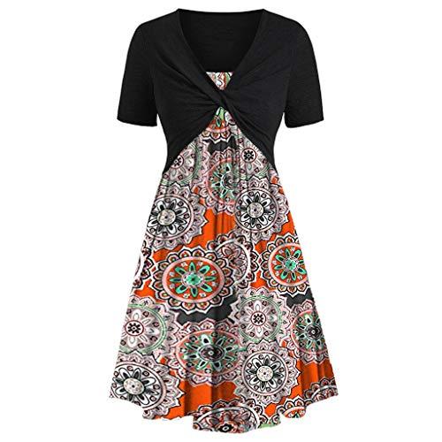 Women's Short Sve Front Criss Cross Top Floral Print ni Dress Suits Knee-Length Beach Ca Dress Sundress -