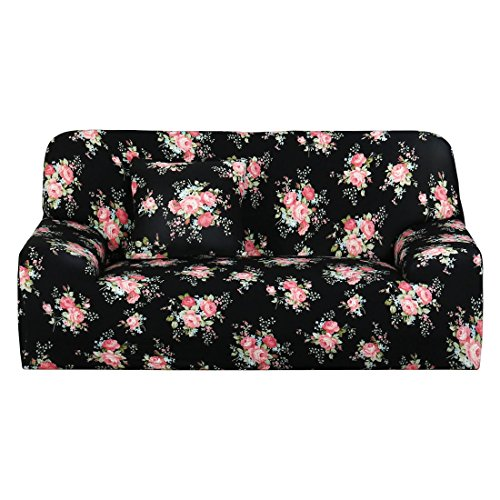 3 Seater 2 Seater - uxcell 3 Seater Sofa Covers Sofa Slipcovers Chair Covers Protector Elastic Polyester Spandex Fabric Featuring Soft Form Fit Couch Covers 74-90 Inches(Black Rose) With 1pc Cushion Cover