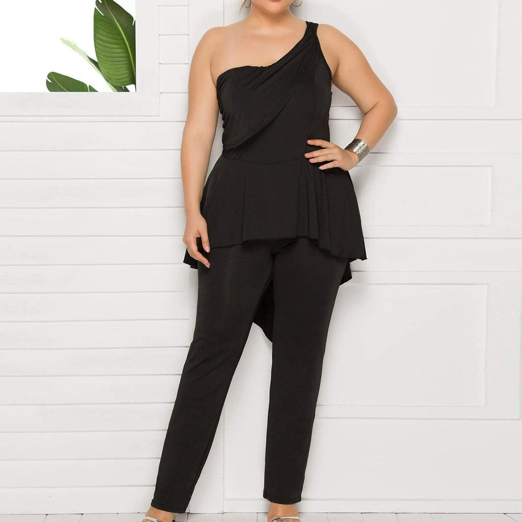 Womens Casual Sleeveless One Shoulder Jumpsuit Rompers Solid Overlay Pant Skirts Lightweight Breathable Long Pants Summer Lounge Beach Playsuit