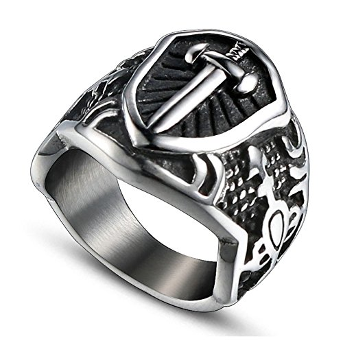 Gnzoe Mens Stainless steel Bands Ring Sword Engraved punk vintage silver 18MM Size 9