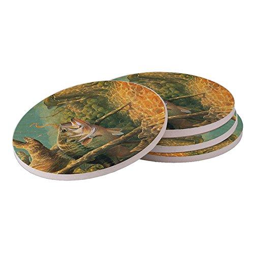 Natural Sandstone Coasters Absorbent (Bass Fish Fishing - Natural Sandstone Drink Coasters / Four Coasters Included / Absorbent Coaster / Wine Coaster / Sandstone Drink Coaster)