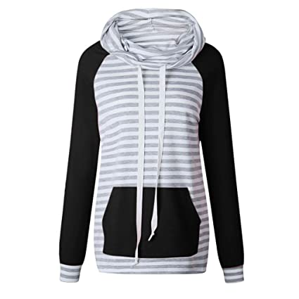 ZJSWCP Sweatshirt Women Col Sweatshirt Stripe Tops Shirts Tunic Long Sleeve Sweatshirt Women Hoodies Sudadera Mujer