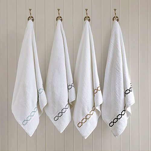 Chainlink 700Gsm Cotton Bathroom Towels , Striped Elegant Highly Absorbent Bath Towel Set , 6-Piece Include 2 Bath Towels, 2 Hand Towels & 2 Wash Towels , White Black