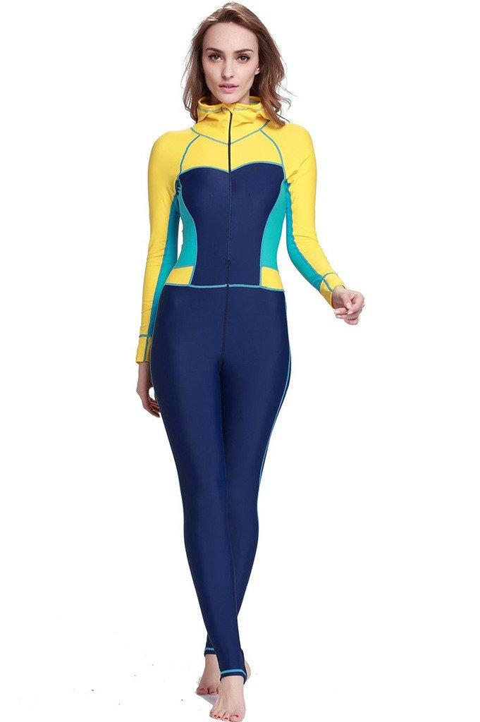 【感謝価格】 Micosuza レディース フルボディ水着 スイムスーツ スイムスーツ 全身カバー New-Yellow - 長ズボン長袖 Chest UV保護 ワンピースラッシュガード (FBA) B01FYUF5IW L for Chest 34.5