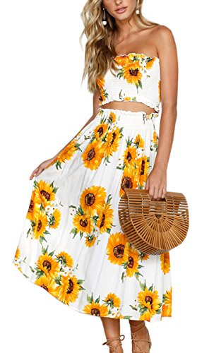 Angashion Women#039s Floral Crop Top Maxi Skirt Set 2 Piece Outfit Dress Sunflower M