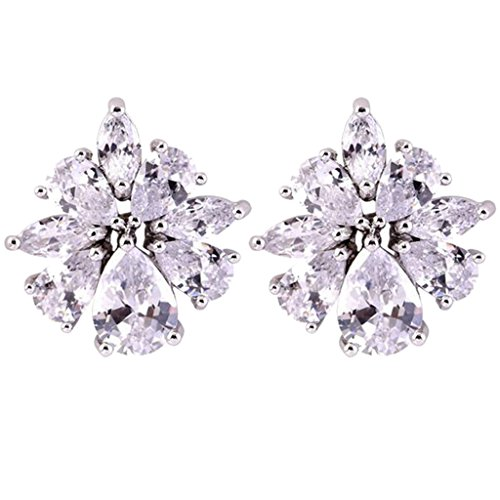 Cubic Zirconia Ice Flower Clip on Earrings for Girls Women Back U Clip Non Pierced White Gold Plated -