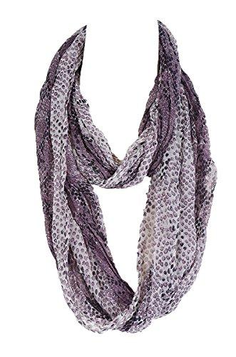 Snake Skin Print Infinity loop Fashion Scarf (Purple)