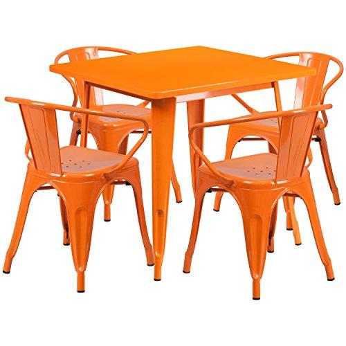 Flash Furniture 31.5'' Square Orange Metal Indoor-Outdoor Table Set with 4 Arm (Garden District Metal)