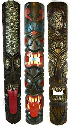40 In Set of 3 Tribal Polynesian Tiki Bar Turtle Pineapple Design Masks Hand Carved Island tropical ()