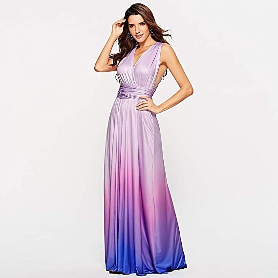 DEATU Womens Vogue Dresses Ladies Gradient Deep V Bandage Sleeveless Backless Party Maxi Cocktail Long Dress Sale at Amazon Womens Clothing store:
